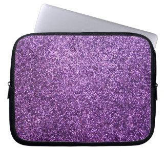 Faux Purple Glitter Laptop Computer Sleeves