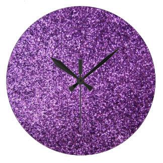 Faux Purple Glitter Large Clock