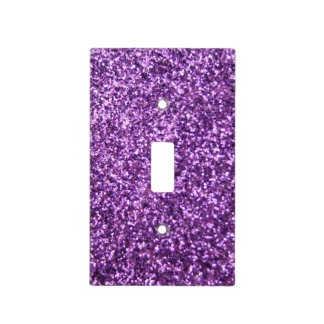 Faux Purple Glitter Light Switch Cover