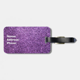 Faux Purple Glitter Luggage Tag