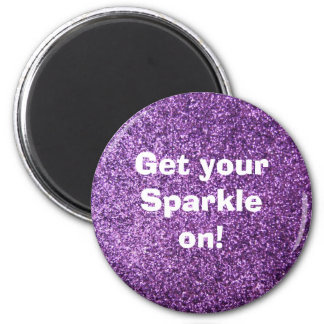 Faux Purple Glitter Fridge Magnet