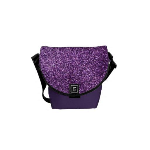 Faux Purple Glitter Messenger Bags