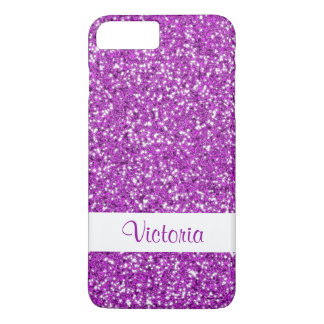 Faux Purple Glitter Pattern Look-like With Name iPhone 8 Plus/7 Plus Case