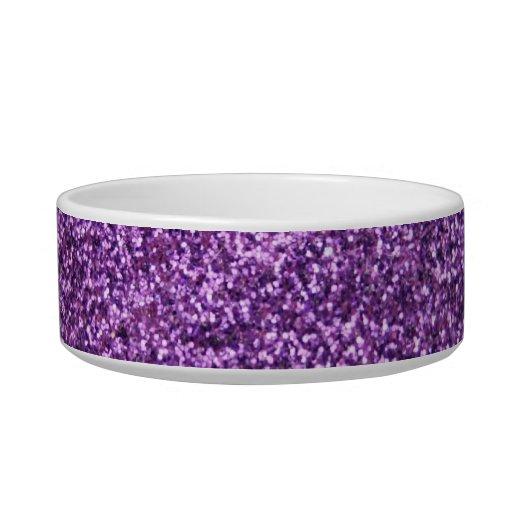 Faux Purple Glitter Cat Food Bowls
