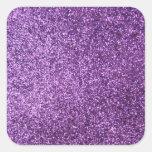 Faux Purple Glitter Square Sticker