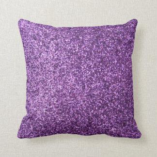 Faux Purple Glitter Throw Pillow