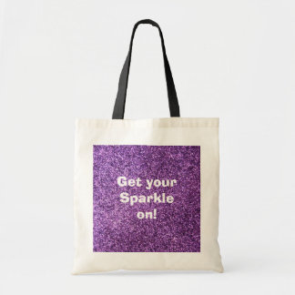 Faux Purple Glitter Tote Bag