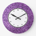 Faux Purple Glitter Wall Clock at Zazzle