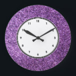 """Faux Purple Glitter wall clock<br><div class=""""desc"""">NOTE: PRODUCT DOES NOT CONTAIN ACTUAL GLITTER. IT IS A GLITTER GRAPHIC. glitter, glittery, sparkle, sparkles, sparkly, sparkley, sparkling, glittering, glitters, shiny, shine, purple, elegant, stylish, girly, girl, girls, bling, cute, fun, shiney, fashion, fashionable, trendy, soft, focus, modern, contemporary, pretty, sequin, sequins, glam, glamor, glamorous, glamour, style, diamond, diamonds, crystals,...</div>"""