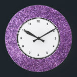 "Faux Purple Glitter wall clock<br><div class=""desc"">NOTE: PRODUCT DOES NOT CONTAIN ACTUAL GLITTER. IT IS A GLITTER GRAPHIC. glitter, glittery, sparkle, sparkles, sparkly, sparkley, sparkling, glittering, glitters, shiny, shine, purple, elegant, stylish, girly, girl, girls, bling, cute, fun, shiney, fashion, fashionable, trendy, soft, focus, modern, contemporary, pretty, sequin, sequins, glam, glamor, glamorous, glamour, style, diamond, diamonds, crystals,...</div>"