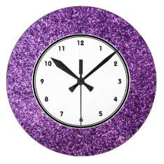 Faux Purple Glitter Wall Clock at Zazzle