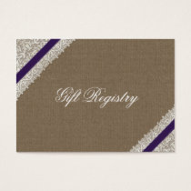 FAUX purple lace and burlap Gift registry  Cards