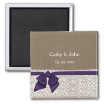 FAUX purple lace and burlap wedding save the date Magnet