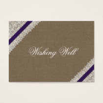FAUX purple lace and burlap wishing well cards