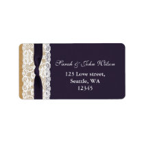 FAUX purple lace, burlap ,return address label