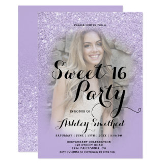 Faux purple lavender glitter ombre photo Sweet 16 Card
