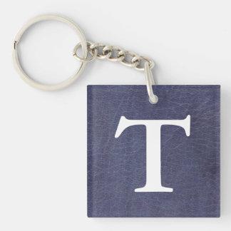 Faux Purple Leather Texture Square Acrylic Key Chain