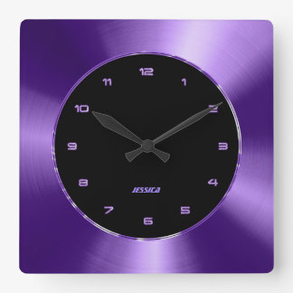 Faux Purple Metallic Design Stainless Steel Look Square Wall Clock