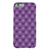 FAUX purple quilted leather, diamante Barely There iPhone 6 Case