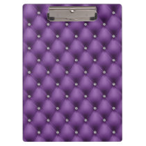FAUX Purple quilted leather, diamante Clipboard