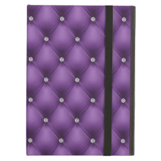 FAUX Purple quilted leather, diamante Cover For iPad Air