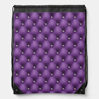 FAUX Purple quilted leather, diamante Drawstring Bag