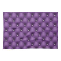 FAUX Purple quilted leather, diamante Hand Towel