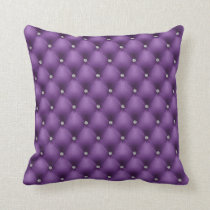 FAUX Purple quilted leather, diamante Throw Pillow