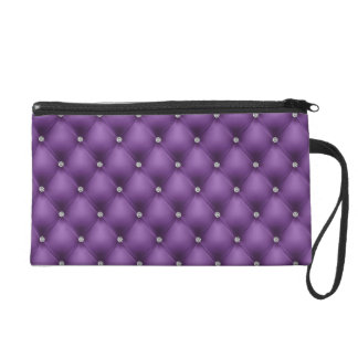 FAUX Purple quilted leather, diamante Wristlet Purse