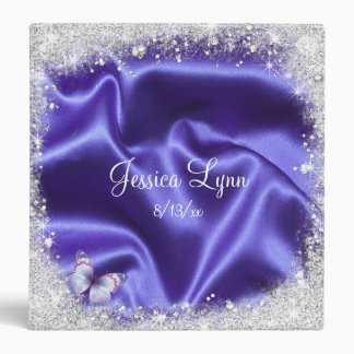 Faux, Purple Satin, Glitter, Sweet Sixteen, Custom Binder