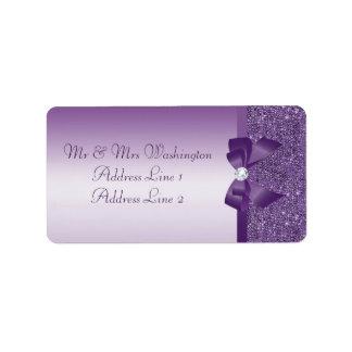 Faux Purple Sequins Bow Diamond Label