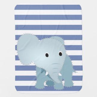 Faux Quilted Blue Elephant on Blue Stripes #2 Stroller Blanket