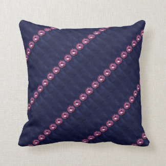 Faux Quilted Blue Felt and Amethyst Pillow