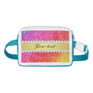 Faux Rainbow Glitter Diamonds Personalized Fanny Pack