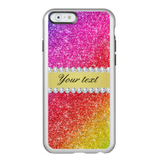 Faux Rainbow Glitter Diamonds Personalized Incipio Feather Shine iPhone 6 Case