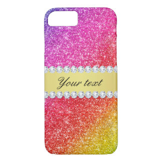 Faux Rainbow Glitter Diamonds Personalized iPhone 7 Case