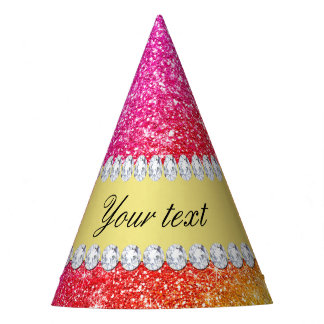 Faux Rainbow Glitter Diamonds Personalized Party Hat