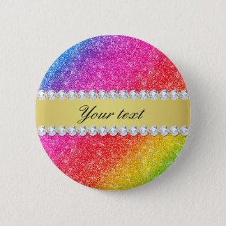 Faux Rainbow Glitter Diamonds Personalized Pinback Button