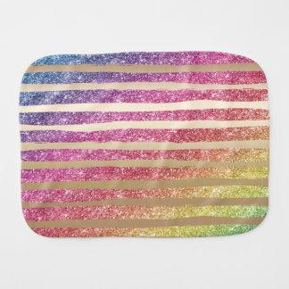 Faux Rainbow Glitter Gold Stripes Baby Burp Cloth