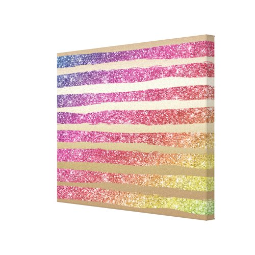 Faux Rainbow Glitter Gold Stripes Canvas Print