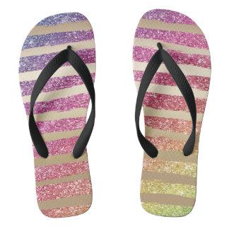 Faux Rainbow Glitter Gold Stripes Flip Flops