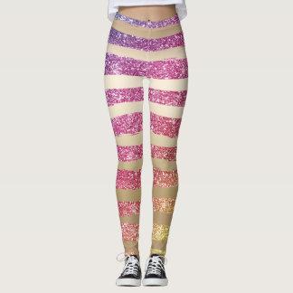 Faux Rainbow Glitter Gold Stripes Leggings