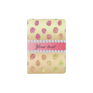 Faux Rainbow Glitter Spots Diamonds Gold Passport Holder