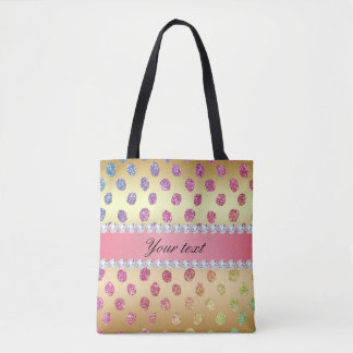 Faux Rainbow Glitter Spots Diamonds Gold Tote Bag