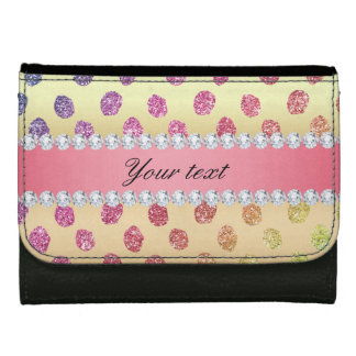 Faux Rainbow Glitter Spots Diamonds Gold Wallets