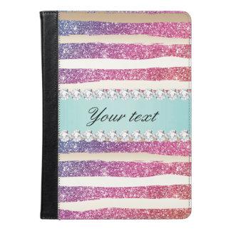 Faux Rainbow Glitter Stripes Diamonds Gold iPad Air Case