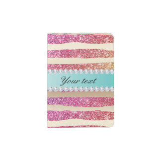 Faux Rainbow Glitter Stripes Diamonds Gold Passport Holder
