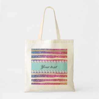 Faux Rainbow Glitter Stripes Diamonds Gold Tote Bag