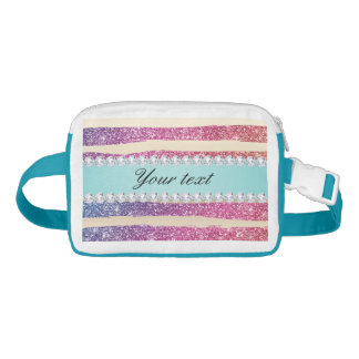 Faux Rainbow Glitter Stripes Diamonds Gold Waist Bag
