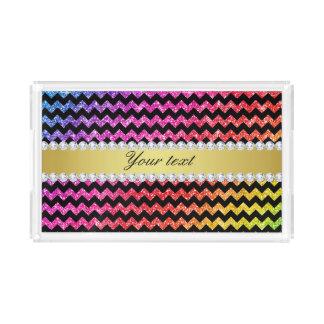 Faux Rainbow Neon Glitter Chevrons Diamonds Black Acrylic Tray